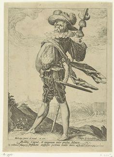 Jacob de Gheyn (II) | Kolonel, Jacob de Gheyn (II), Wilhelmus Koning, 1587 | Een man in militaire uitdossing (een kolonel), ten voeten uit, op de linkerzijde gezien, een zwaard aan zijn gordel, een stokwapen (partizaan) in zijn rechterhand. Op de achtergrond een heuvelachtig landschap waarin een slag plaatsvindt. Onder de voorstelling twee regels tekst in Latijn. Deze prent is onderdeel van een serie van 12 prenten van militairen, ten voeten uit weergegeven tegen een landschappelijke…