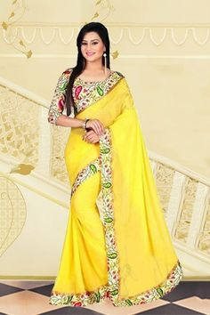 Chiffon Party Wear Saree in Yellow Colour