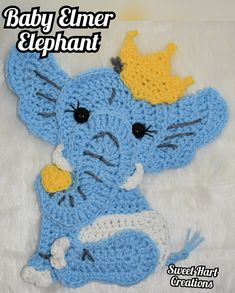 How to Crochet Elmer the Elephant Applique Crochet Elephant Pattern, Elephant Applique, Baby Applique, Crochet Animal Patterns, Stuffed Animal Patterns, Crochet Animals, All Free Crochet, Love Crochet, Crochet For Kids