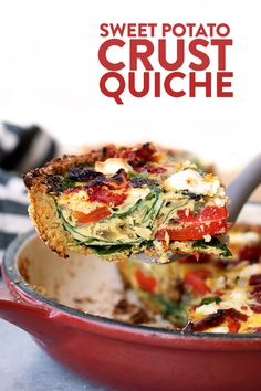 Sweet Potato Crust Quiche {Video} - Fit Foodie Finds