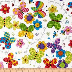 Cute As A Bug Butterflies/Flowers/White - Quilt Fabric