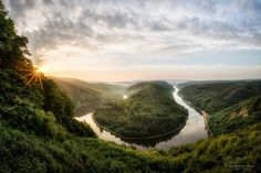 germany river saarland saarschleife spring may morning sun rays canyon river