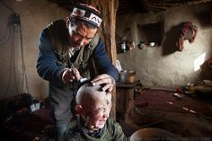 Khairuddin's father hopes that shaving his son's head?and putting the hair in a ?clean place,? such as a frozen river?will cure the boy's persistent headaches. Although the Kyrgyz are Sunni Muslims, their rituals also reflect other ancient traditions. They believe that evil spirits cause many medical problems...The Kyrgyz settlement of Tchelab, near Chaqmaqtin lake, Haji Bootoo Boi's camp...Trekking through the high altitude plateau of the Little Pamir mountains, where the Afghan Kyrgyz…