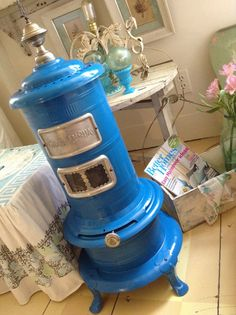 Your place to buy and sell all things handmade Antique Wood Stove, How To Antique Wood, Outside Wood Stove, Oil Heater, Kerosene Heater, Brass Bed, Patio Heater, Victorian Homes, Teal Blue