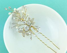 Swarovski crystal pearl wedding hair pin от AllureWeddingJewelry