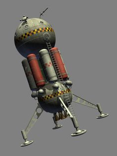 1950s style planetary lander - still WIP by Paul-Lloyd on DeviantArt