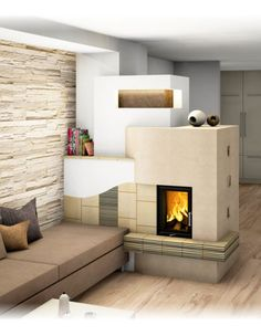 Kachelofen Home Fireplace, Living Room With Fireplace, Light My Fire, Small Places, Bungalow, Relax, Building, Home Decor, Log Fires