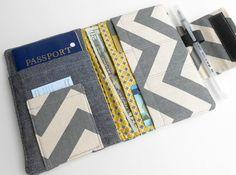 Passport Wallet with Travel Journal Smart Phone Wallet Grey Chevron