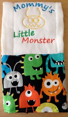 Mommys little monster burp cloth Monster by BrinleysBowtique32