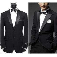 New Men Black Suits Groomsmen Tuxedos Groom Suit Jacket Tie Pants Groom Wedding Dress, Tuxedo Wedding, Groom Dress, Wedding Suits, Wedding Tuxedos, Wedding Black, Black Suit Dress, Black Suits, Dress Suits