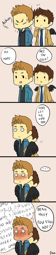 Destiel strip by ShaStrider on deviantART. More cute Cas and Dean!