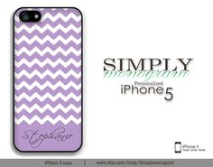 iphone 5 case - personalized iphone - plastic or silicone rubber - lavender chevron monogram. $17.99, via Etsy. Just yes.