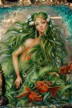 """Casket """"Green-haired mermaid"""" - buy in the online store at the Fair Masters with delivery Fantasy Mermaids, Mermaids And Mermen, Fantasy Girl, Art Cube, Fantasy Paintings, Fantasy Artwork, Mermaid Pictures, Beautiful Fantasy Art, Ukrainian Art"""