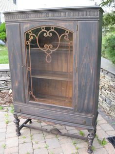 Chic and Shabby Black China Cabinet  by VintageRebornLaura on Etsy, $695.00