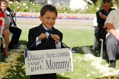 """Fun ring bearer sign for a vow renewal ceremony! Well, our sign could read """"Papa"""" & """"Meema"""" and our youngest grandson could carry it! Wedding Wishes, Wedding Signs, Our Wedding, Dream Wedding, Perfect Wedding, Vow Renewal Ceremony, Wedding Renewal Vows, 10 Year Anniversary, Anniversary Parties"""