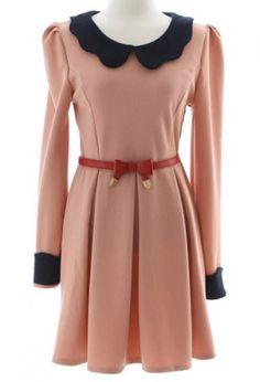 Pink Contrast Lapel Long Sleeve Belt Pleated Dress