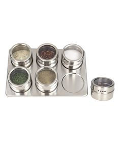 Loving this Stainless Steel Seven-Piece Magnetic Spice Rack Set on #zulily! #zulilyfinds