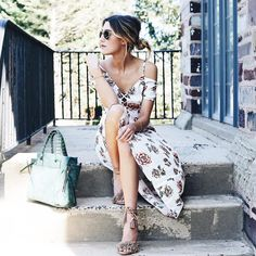Street style, casual outfit, spring chic, summer chic, rose print white dress, heeled sandals