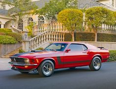 1970 Ford Mustang Boss 302 Red With Black Stripe Side View On Pavement By Ho… – Pavement İdeas Ford Mustang Boss, Mustang Cobra, Mustang Fastback, Old Muscle Cars, American Muscle Cars, Sexy Cars, Hot Cars, Super Images, Classic Mustang