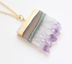 Gold Dipped Amethyst Layer Druzy