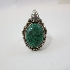 Sterling Silver Handcrafted Ring with African Malachite Cabochon - Size 8.5 #unbranded #Artisan