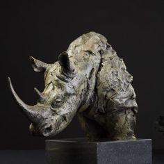 bronze rhino head study