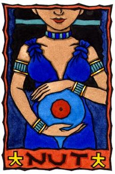 Nut is the Egyptian sky Goddess and mother of Osiris, Horus the Elder, Seth, Isis and Nephthys. Her brother and husband is the earth God Geb, and Their parents are Shu (air) and Tefnut (moisture). Nut and Geb were married in secret against the will of Ra, the one-time king of the Gods.