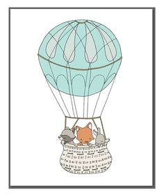 Look at this Sweet Melody Designs Woodland Friends Hot Air Balloon Print on #zulily today!