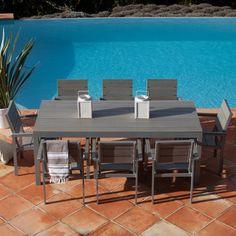 Salon de jardin 8 places LAMIA Squareline en aluminium et composite ...