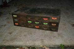 Vintage Industrial Parts Cabinet 18  Drawer Metal Hardware Storage Bin Organizer #unkown  Asking $245.00