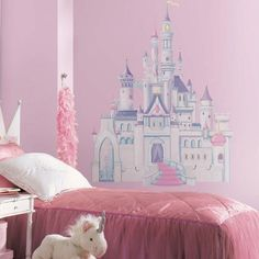 Large wall mural of princess castle in pink and purple with glitter accents. Princess castle giant wall stickers for princess-themed girls rooms. Pairs perfectly with large Disney Princess wall murals, especially Cinderella large wall decals Princess Bedrooms, Princess Room, Princess Party, Princess Mural, Princess Nursery, Disney Wall Decals, Kids Wall Decals, Vinyl Decals, Chateau Princesse Disney