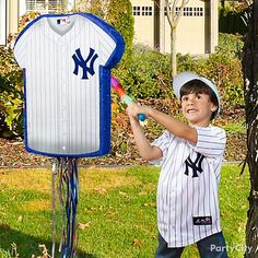A baseball pinata is the perfect party game! Fill it with candy and small favors and let your little sluggers step up for batting practice!