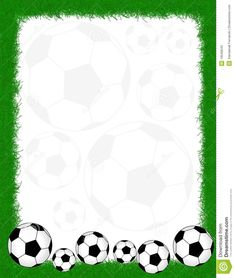Soccer Balls On Beautiful Green Grass Frame