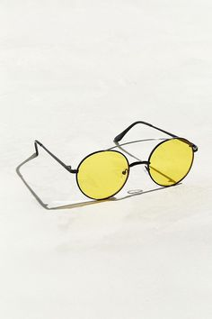 a32c64c3178 UO - Bar Brow Flat Metal Round Sunglasses -  22.00 Black Round Sunglasses