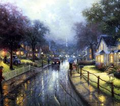 thomas kinkade paintings - Google Search...love the streets