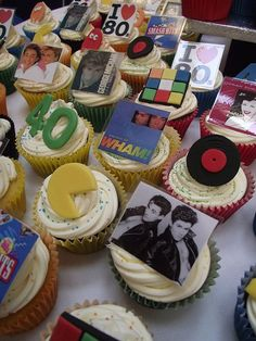 80s cupcakes!!!  (From Cupcake Occasions UK on Flickr)  Looks like for a 40th bday party.