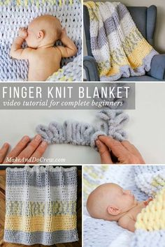 """Made with Lion Brand Off the Hook loop yarn and a very simple technique, this finger knitting blanket is a breeze to """"knit,"""" even for absolute beginners. Perfect size plush couch throw or squishy baby blanket. Video tutorial makes this project easy, even Finger Knitting Blankets, Knitted Baby Blankets, Arm Knitting, Baby Blanket Crochet, Crochet Baby, Knitting Patterns, Simple Knitting, Loom Knitting Blanket, Hand Knit Blanket"""