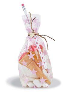 Ejemplo de bolsita regalo trasparente con estrellas rosas