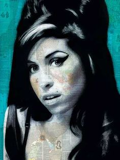 André Monet, Amy, 2015 / 2016 © www.lumas.com/ #Lumas, Abstract, Amy Winehouse, blue, Book, Celebrity, Collage, Concept, creations, England, graphic, London, magazin, mixed media, Music, Newspaper, Painting, Paper, People, Portrait, Singer, Star, UK, Woman