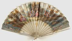 Fan with 'Fête galante' scene  Painted parchment; lattice pierced mother-of-pearl sticks with gold inlay  Made in France, Europe - c.19th century