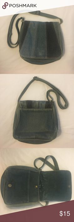 ALDO Denim Purse Great condition used once if that. Adjustable strap. Flap and snap closure. Measures approximately 8 inches tall, 9 inches across. Aldo Bags Shoulder Bags