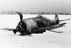 German FW 190A-4 German fighter Focke-Wulf FW 190A-4, downed somewhere in the Soviet Union in February 1944.
