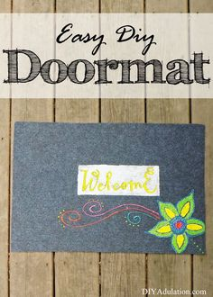 Give your entryway a fun pop of color on the cheap with this easy DIY Doormat!