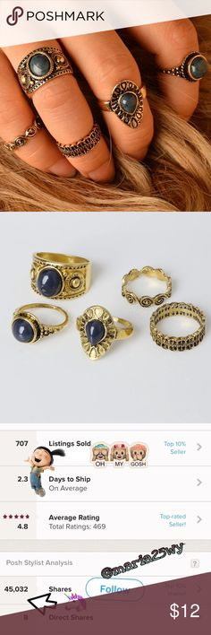 New🎉 Gold• Midi Boho Ring Sets• 5pc Like most items from my boutique the majority of these item have no tags but does come in a plastic bag. Great for the summer   Brand new ✅ Not accepting OFFERS on INDIVIDUAL ITEMS ❌ No trades ❌ No tags❌  💥🔅Prices are FIRM🔅💥   *** not free people, listed only for visibility ****  If u have any questions plz ask before purchase is made Free People Jewelry Rings