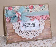 Mother's day doily scallop border woodgrain shabby card