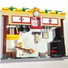 Chef Hanging PIcture made w LEGO®- would make a good kitchen for my Christmas village Lego Pizza, Lego Kitchen, Lego Food, Pizza Chef, Lego Furniture, Lego Sculptures, Lego Boards, Lego Club, Lego Activities
