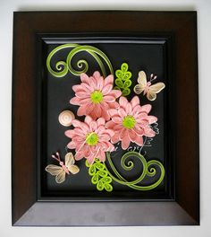 Ayani art: Quilling Pink Flowers and Butterflies