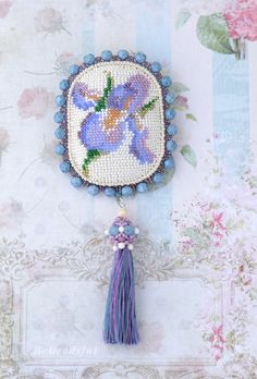 Iris Brooch Bead embroidery Floral brooch Pin with flowers Seed beads design Classic Art Anniversary gift Bohemian jewelry Bead Embroidery Jewelry, Floral Embroidery, Beaded Embroidery, Seed Bead Earrings, Seed Beads, Crochet Earrings, Boho Chic, Boho Style, Anniversary Gifts