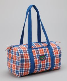 Take a look at this Blue & Orange Plaid Florida Duffel Bag by Pomegranate Collegiate on #zulily today!