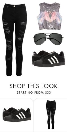 """""""🖤"""" by clara-ramirezs ❤ liked on Polyvore featuring Forever 21, adidas and Yves Saint Laurent"""